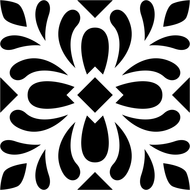 Artemio 1115 Pochoir Home Déco-Carreau Ciment Feuilles, Plastique,  Noir, 1115,115 x 115,115 x 1151,115 cm