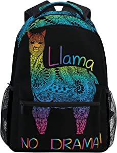ALAZA Rainbow Color Llama No Drama Boho Stylish Large Backpack Personalized Laptop iPad Tablet Travel School Bag with Multiple Pockets for Men Women College