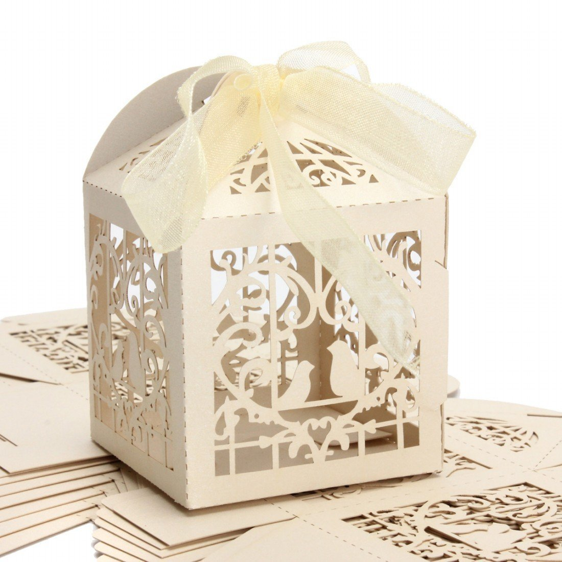 Amazon.com: 50pcs Laser Cut Bird Favor Boxes, 2\'\'x2\'\'x2\'\' Candy ...