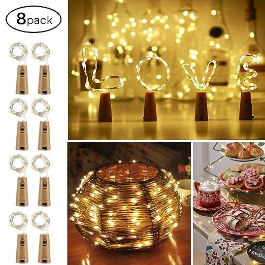 Luces impermeables de la botella de vino de la luz de tira llevada, 8 paquetes 6.5ft 20 luces de cadena de la batería con pilas del LED para el ...