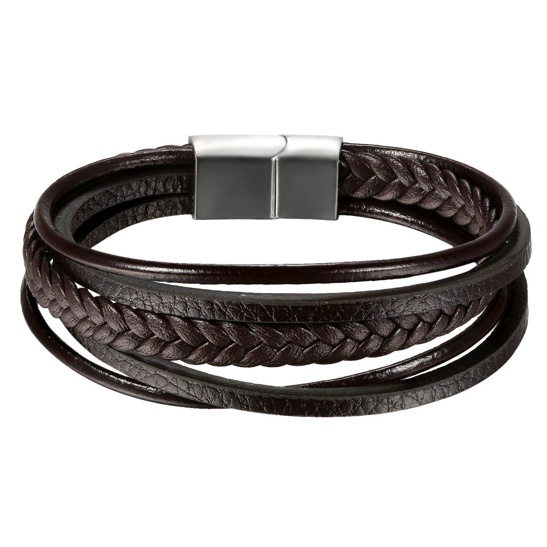 Okaler Mens Genuine Leather Multilayer Bracelet Cowhide Leather Braided Bracelet Rope Bracelet 8''-8.5'' B078ZXL81V_US