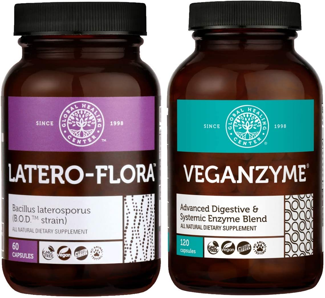 Global Healing Latero-Flora & Veganzyme - Vegan Probiotic Supports Candida Cleanse & Strengthens Gut and Systemic & Digestive Enzyme Blend to Support Digestion and Immune System - 180 Capsules Total