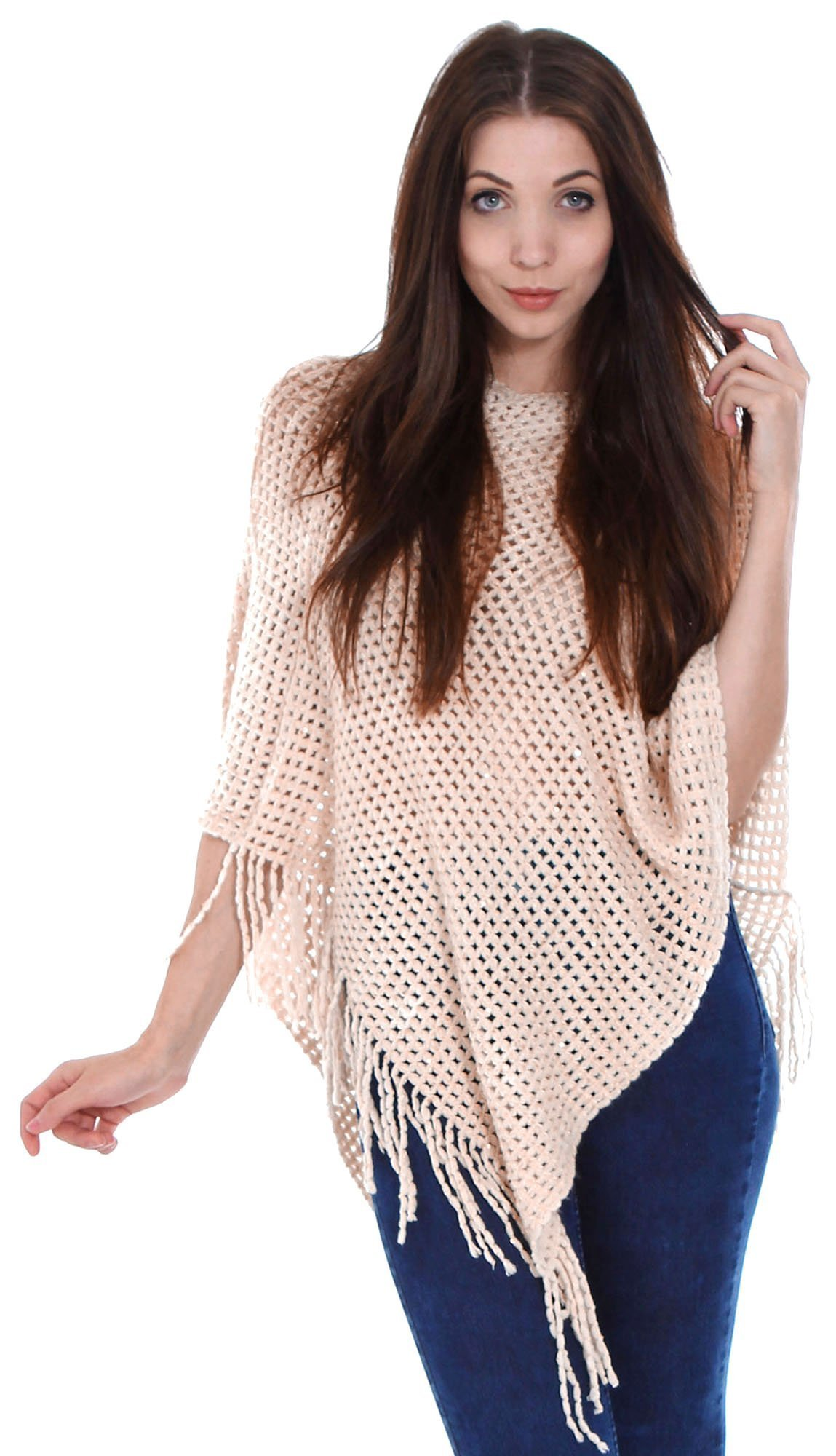Simplicity New Women Knitted Tassel Poncho Cape Sweater Top Shawl Wrap