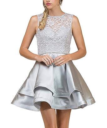 Helloladybridal Womens Beaded Lace Homecoming Dresses 2018 Ruffles