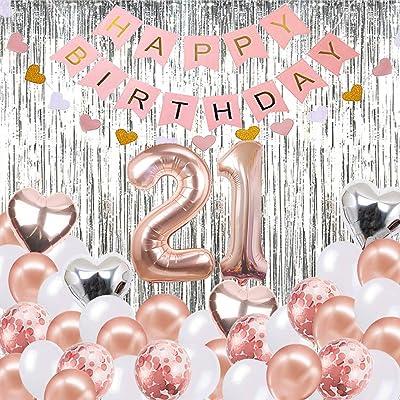 Globos Decorativos para cumpleaños de 21 años, Banner de Feliz cumpleaños, Globos número 21 de Oro Rosa, Número 21 Globos de cumpleaños, Suministros de decoración para cumpleaños de 21 años: Juguetes y juegos