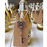 AYTAI Pack de 50regalos para bodas, diseño de llave Skeleton con función abrebotellas, con tarjeta, para decoración (corona: 7,6cm)