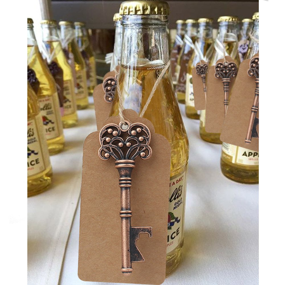 Aytai 50 Pack Wedding Favour Skeleton Key Bottle Opener with Tag Cards for Party Rustic Decoration (Three laps: 2.78 inch) 1KPQ