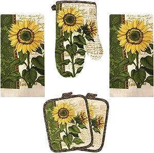Lobyn Value Packs Kitchen Towel 5 Piece Linen Set 2 Towels 2 Pot Holders 1 Oven Mitt (Sunflower 2)