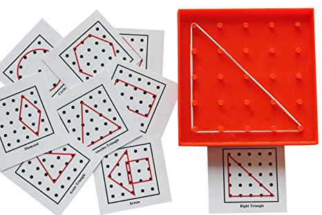 Amazon.com: Geoboard with Geometric Shape Pattern Cards - Matching ...