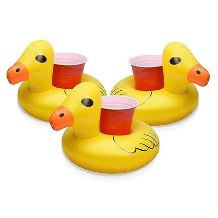 GoFloats Hinchable Pato Drink Holder (3 Pack), Flotador Tus Bebidas en Estilo