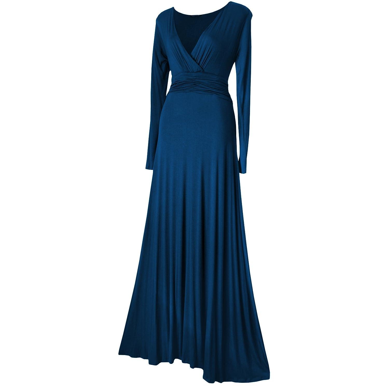 Vestido formal de noche/fiesta largo hasta los tobillos de manga larga - Tallas EU 36-52 - Negro, borgoña, rojo, púrpura, verde o verde azulado: Amazon.es: ...