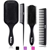 4Pcs Paddle Hair Brush, Detangling Brush and Hair Comb Set for Men and Women, Great On Wet or Dry Hair, No More Tangle…