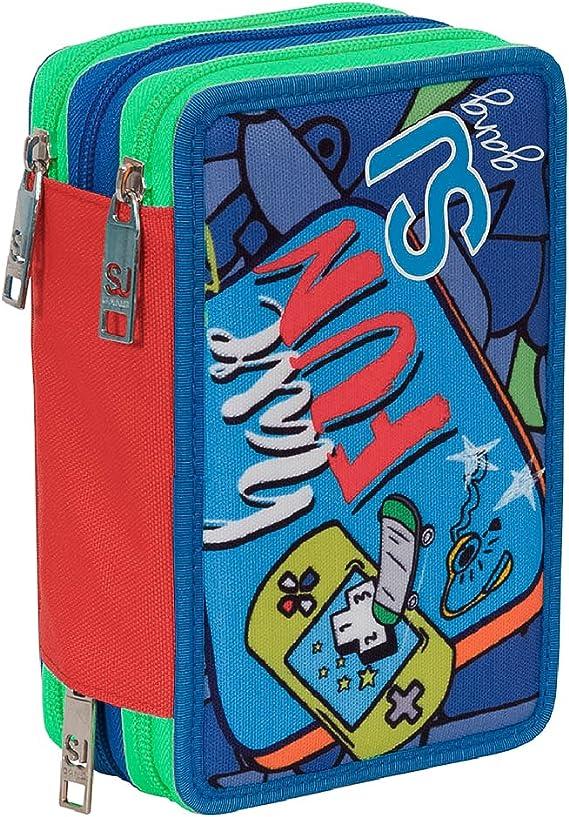 Estuche Escolar 3 Compartimentos Seven - SJ Boy - 3 Pisos - Rojo Azul - con lápiz, marcadores, boligrafos.: Amazon.es: Equipaje