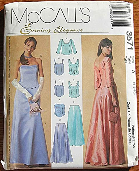 Amazon.com: McCalls 3571 Sewing Pattern ~ Evening Elegance Misses ...
