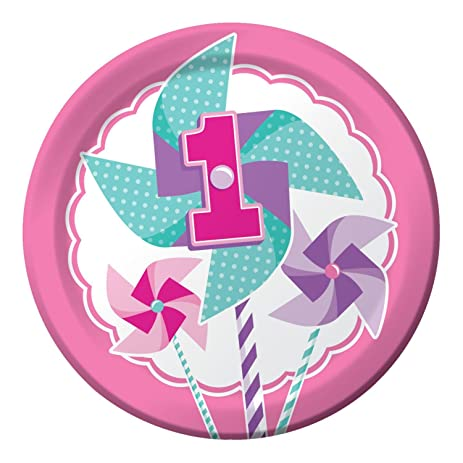 Club Pack of 96 Girl Turning 1 Pinwheel Round Party Luncheon Paper Plates 9\u0026quot;  sc 1 st  Amazon.com & Amazon.com: Club Pack of 96 Girl Turning 1 Pinwheel Round Party ...