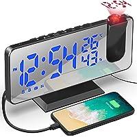 Despertador de Proyección 7.5 Pulgadas Digital 180° Rotativo Despertador Proyector Función de Radio FM Humedad…