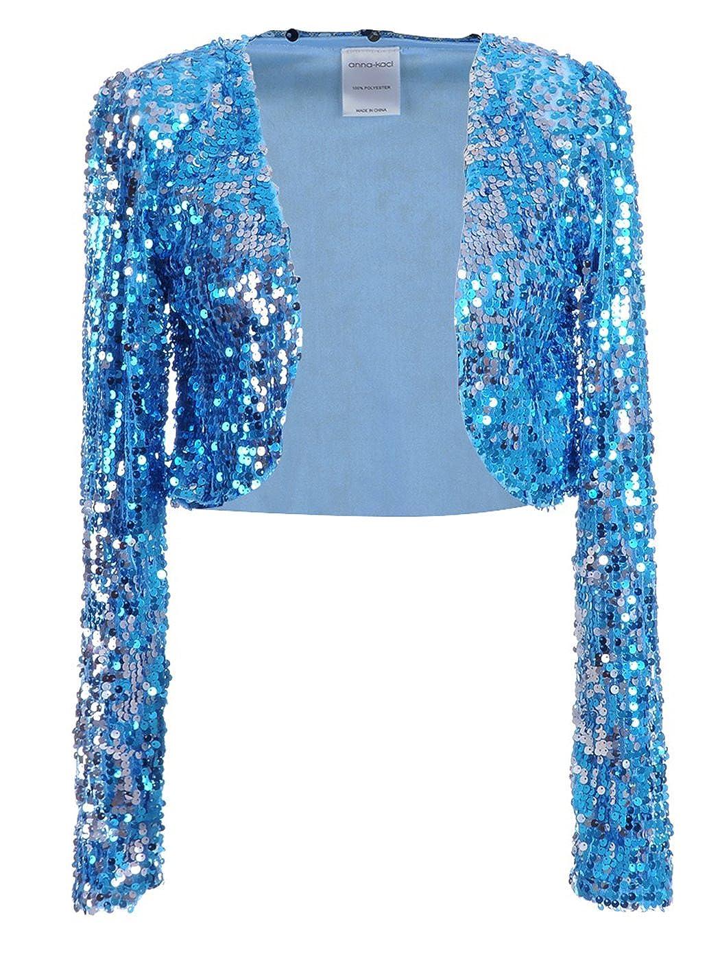 Anna-Kaci Femmes Paillettes Sequins Manches Longues Blazers Bolero  Haussement d épaules recadrée Veste Y91132P 677145be07d5