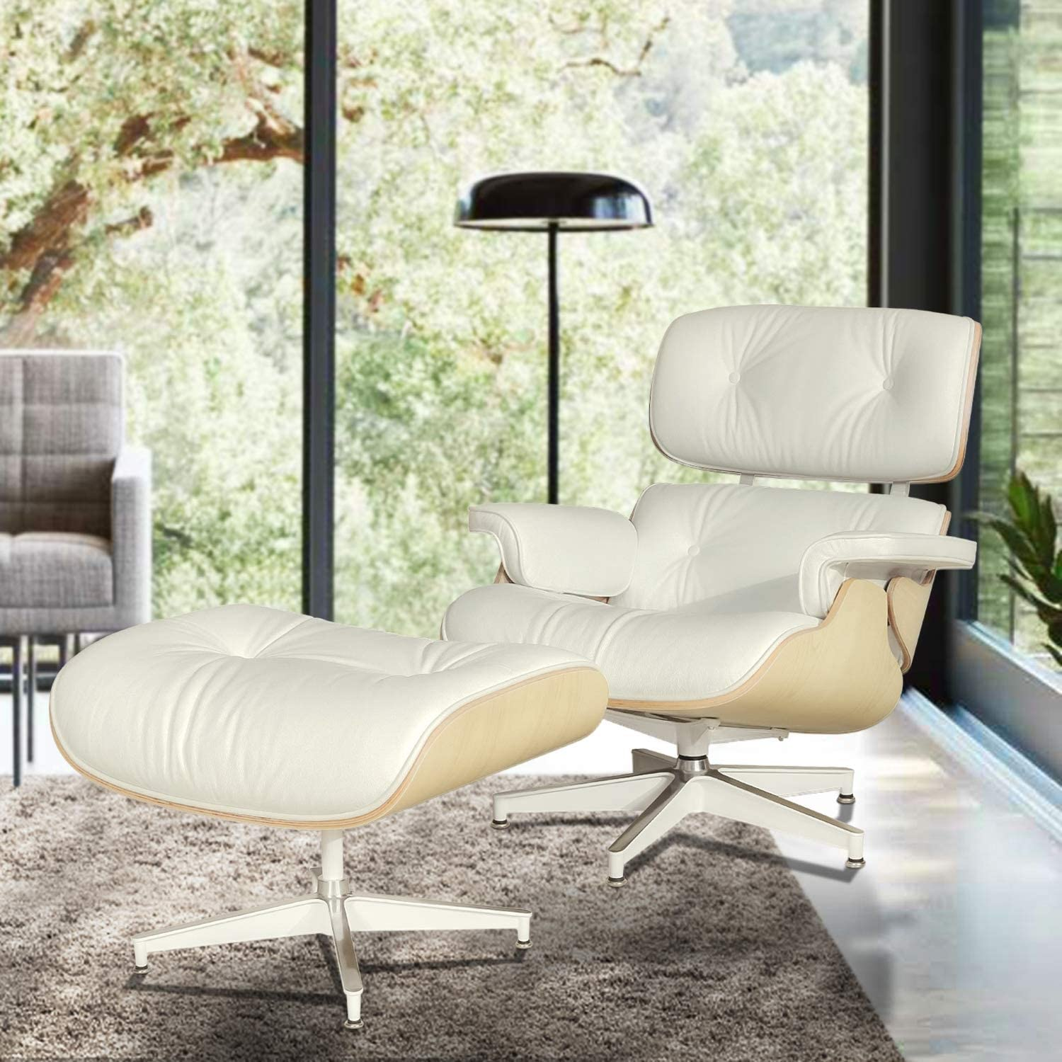Mid Century Modern Lounge Chair with Ottoman,Mid Century Recliner Chair – High Grade Leather – Cream Solid Wood Lounge Chair Replica Cream