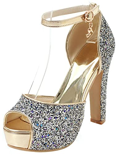 04e30606f46 Mofri Women s Sequined Ankle Strap Sandals - Buckle Peep Toe Platform -  Chunky High Heels Bridal