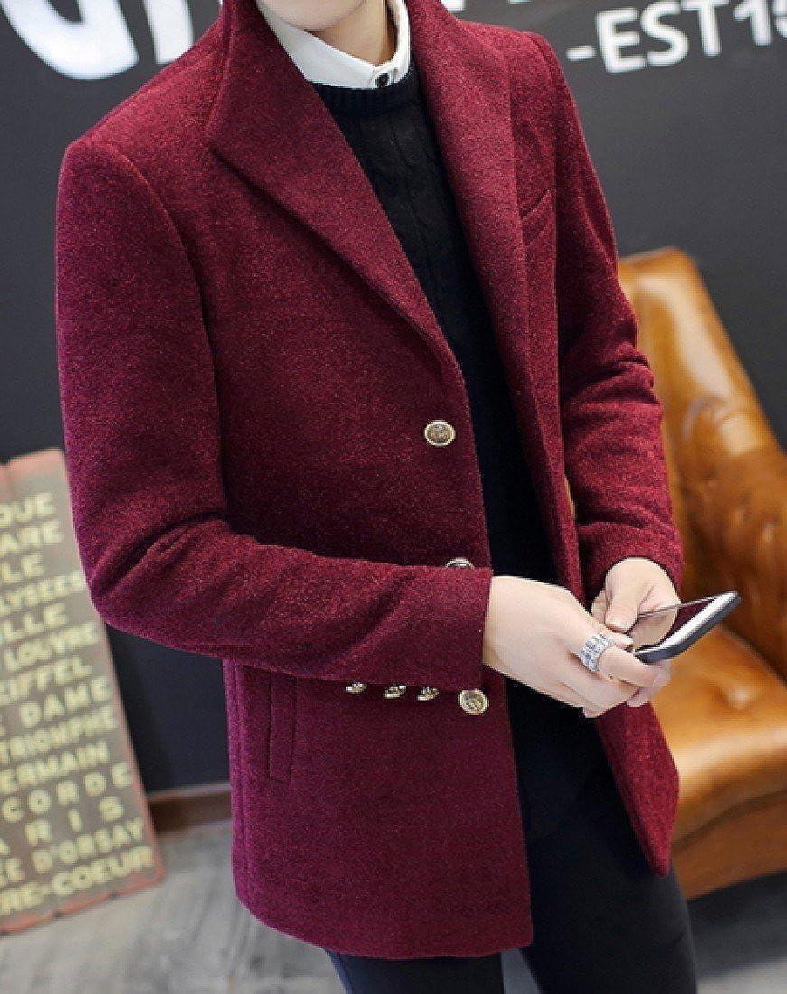 Abetteric Mens Overcoat Snowsuit Short Thickened Mao Collar Peacoat