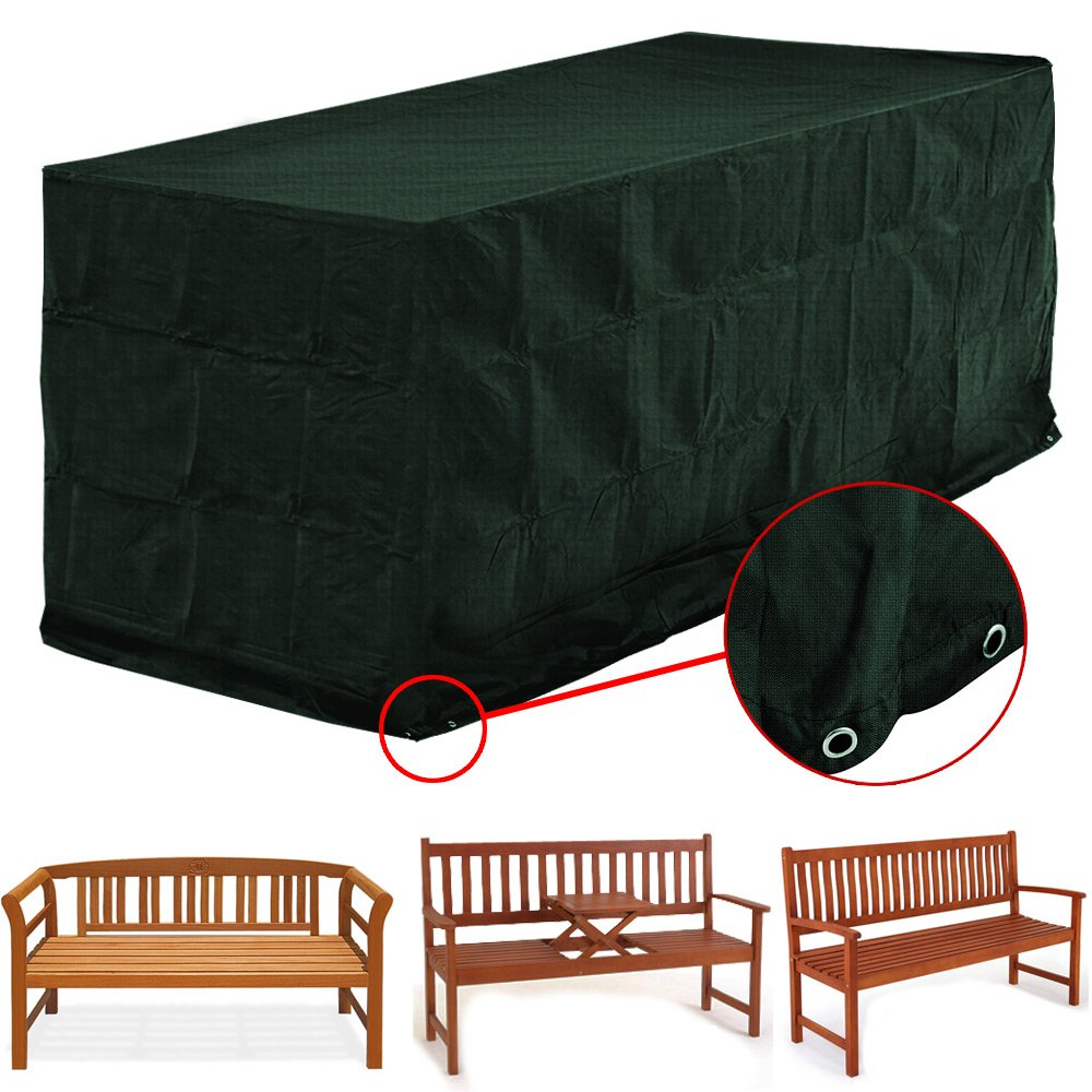 Durable Bench Cover/Protection Garden benches 2-3 Seaters Outdoor Furniture Storage Cover Green with Sleeves and Eyelets Deuba