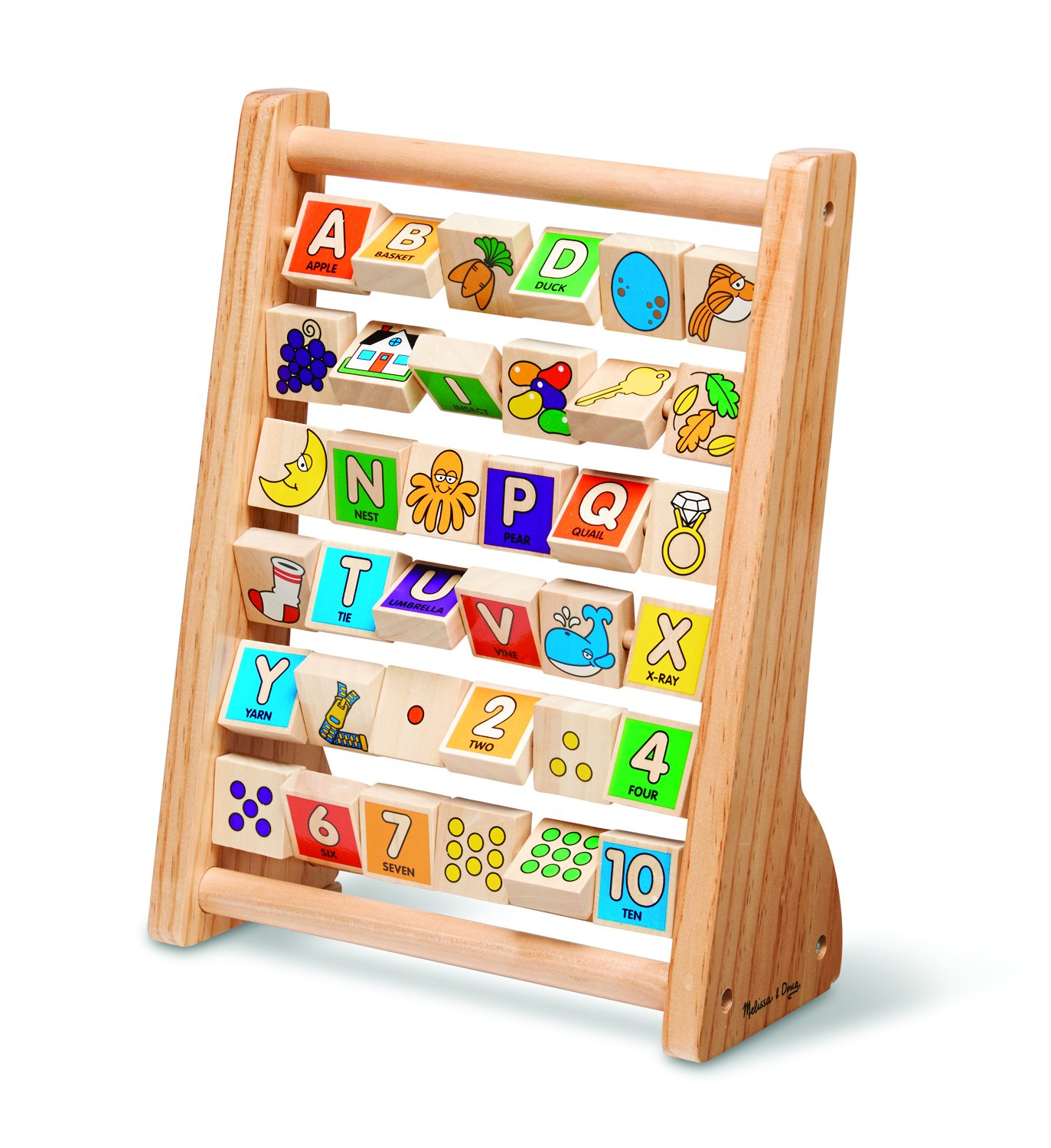 Melissa & Doug ABC-123 Abacus - Classic Wooden Educational Toy With 36 Letter and Number Tiles 9273