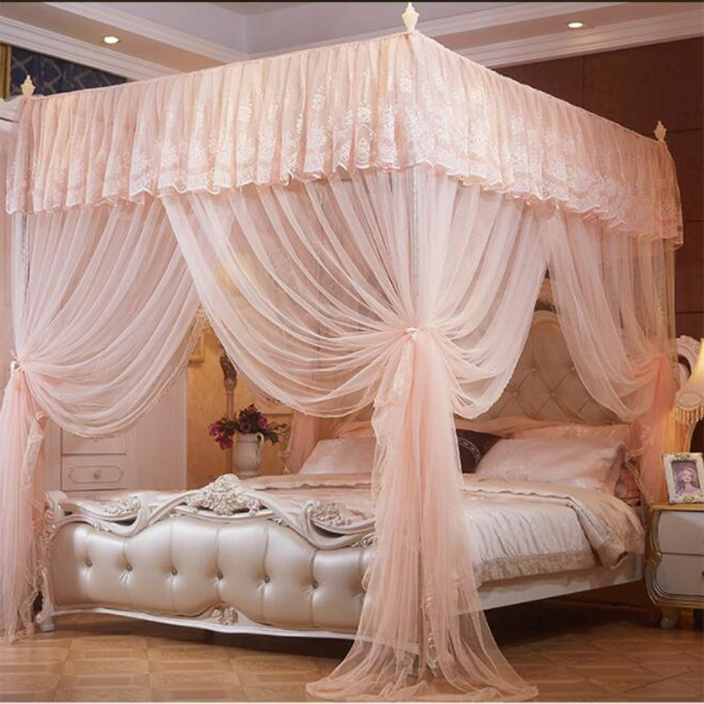 Four corner encrypted bed canopies, Court Mosquito net Double Thickening mosquito net for kids-A Queen1