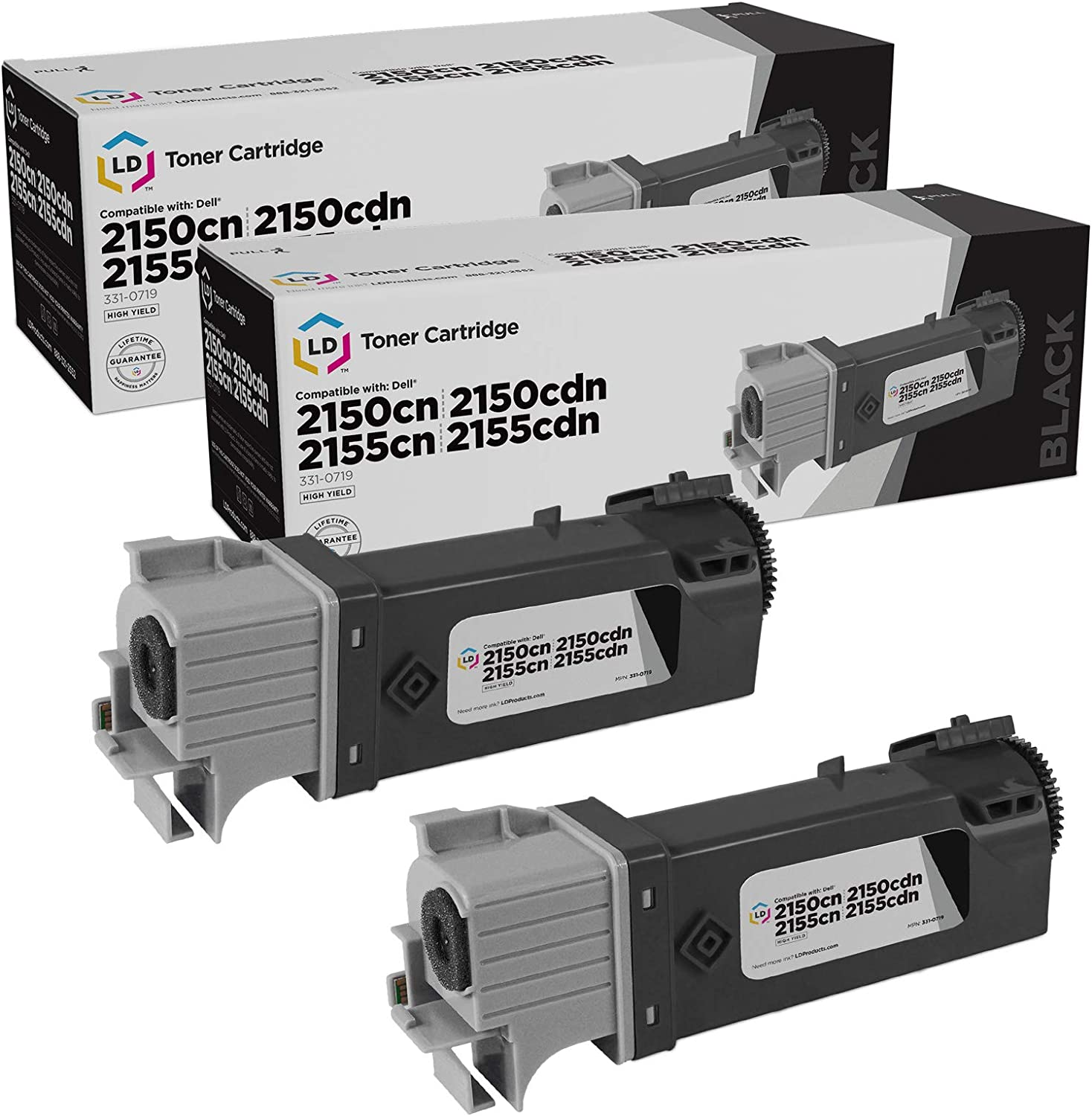 LD Compatible Toner Cartridge Replacements for Dell 331-0719 MY5TJ High Yield (Black, 2-Pack)