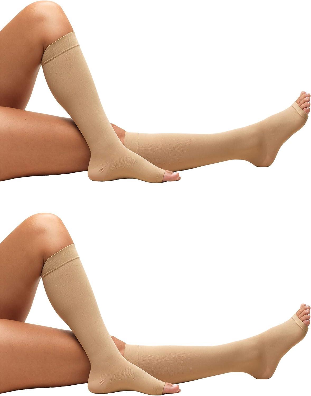 Truform 0808 Anti-Embolism Stockings, Knee Length, Open Toe, 18 mmHg, Beige, X-Large (Pack of 2)