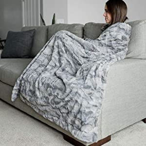 """GRACED SOFT LUXURIES Large Super Soft Warm Elegant Cozy Faux Fur Home Throw Blanket 50"""" x 60"""", Marbled Gray"""