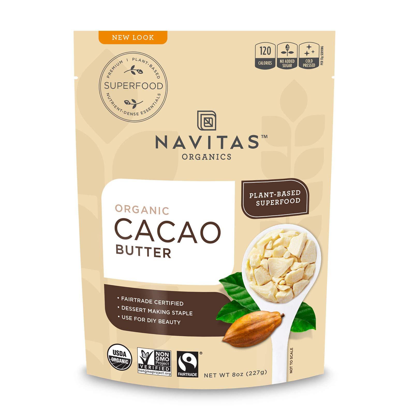 Navitas Organicsy, GlutenFree & Keto, Cacao Butter 8 Ounce