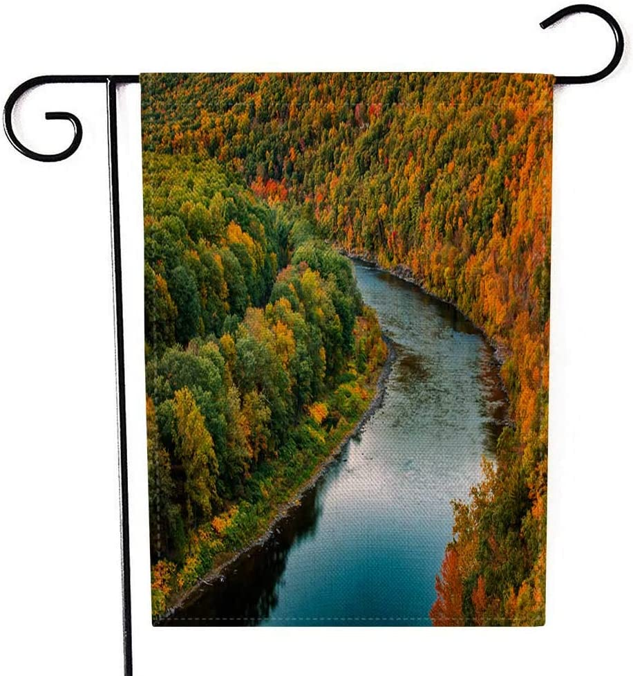 EMMTEEY Holiday Garden Flag Double Sided Burlap Decoration 12.5x18 Inch for Yard Outdoor Decor Garden Flag Upper Delaware River Through Colorful Autumn in Nest Near Port New York a Forest Hawk