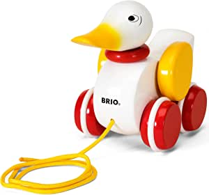 BRIO World - 30323 Pull Along Duck Baby Toy | The Perfect Playmate for Your Toddler,White