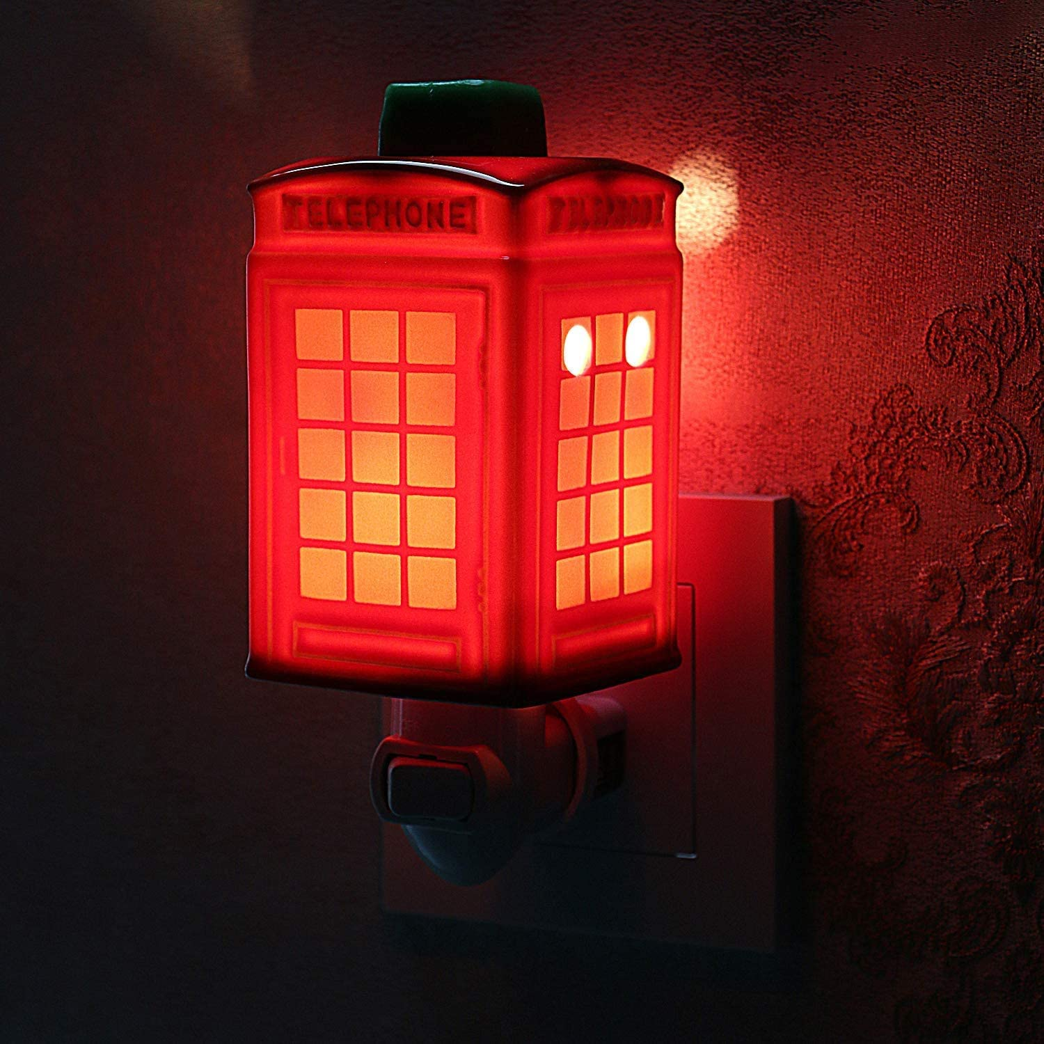 STAR MOON Pluggable Fragrance Warmer Wax Melter for Christmas Decoration in Home/Dorm/Office No Flame No Smoke No Soot Packaged Together with Two Bulbs - Classic Red Telephone Kiosk