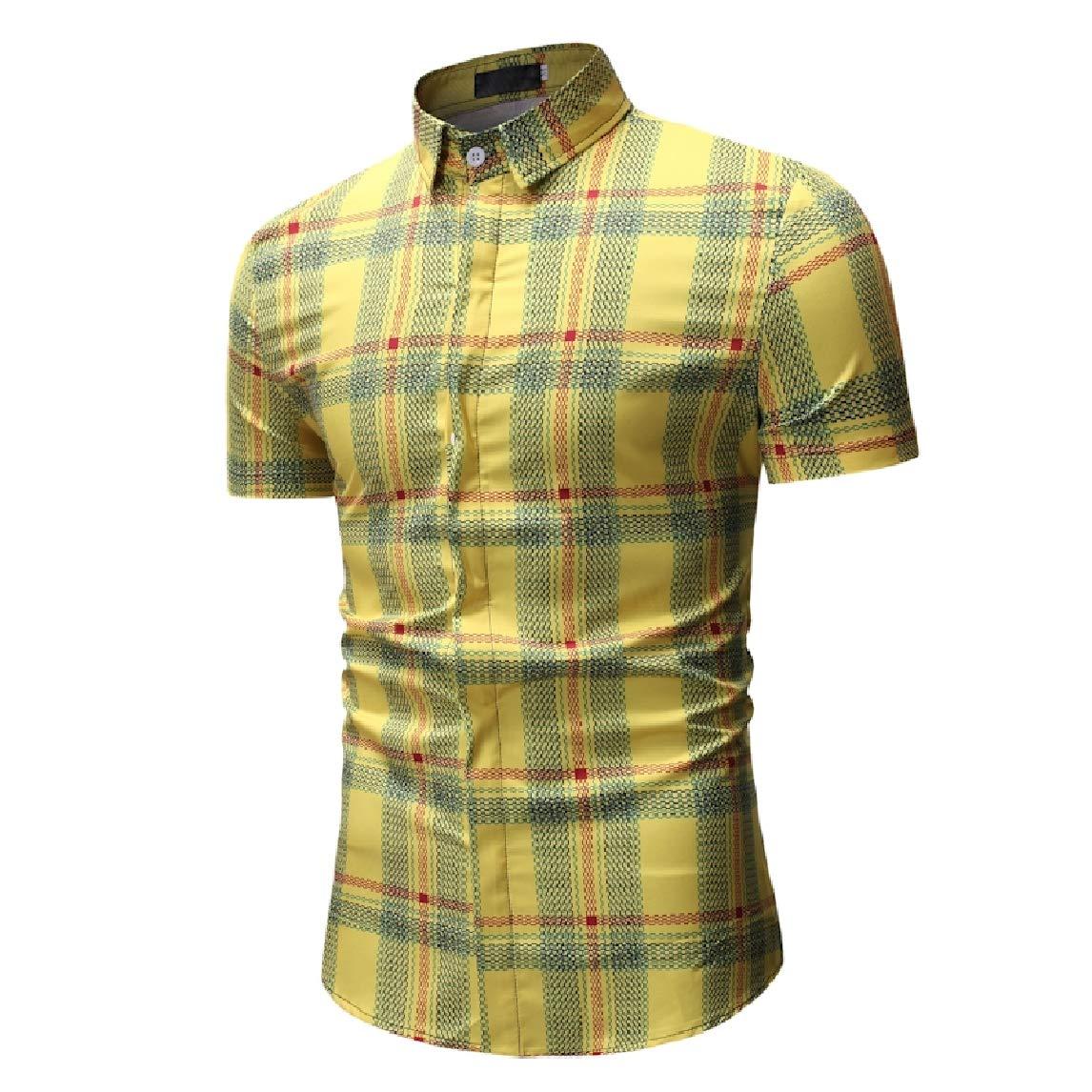 Mfasica Mens Plaid Casual Short-Sleeve Square Collor Plus Size Longshirt
