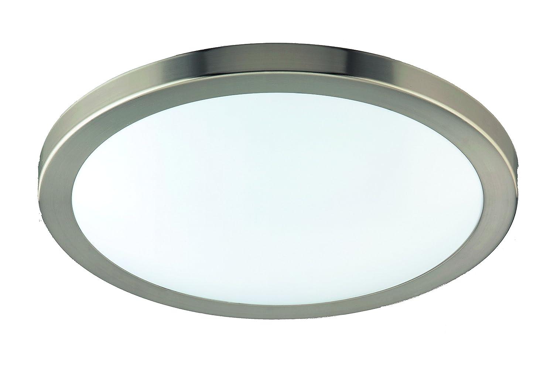 Eco Light LED-Badleuchte Milano, Deckenleuchte, Aluminium, 1380 lm, 18 W, Durchmesser 35 cm, IP44, silberfarbig 8020-35 [Energieklasse A+]