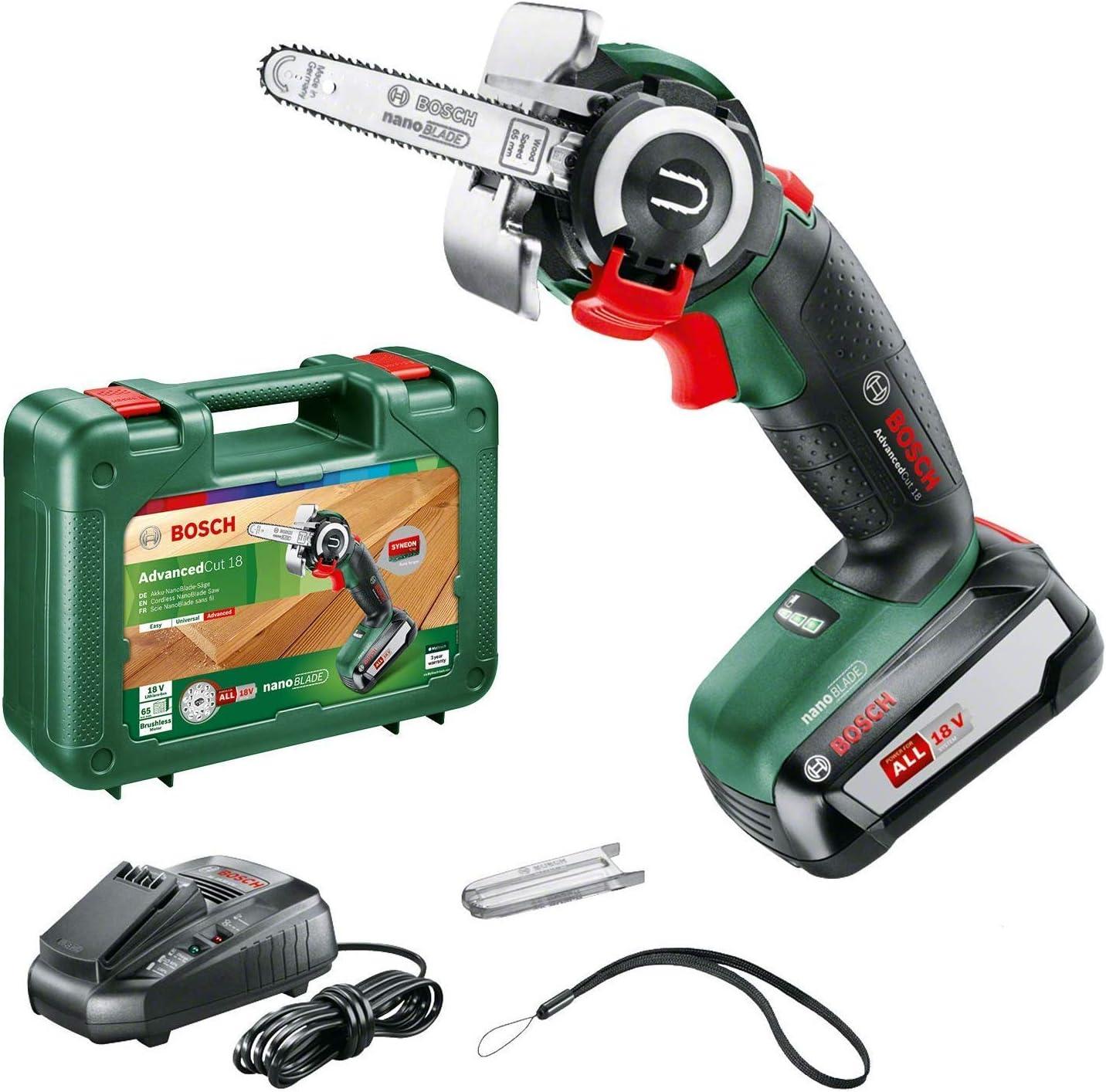 Bosch Home and Garden BOSCH 06033D5101 cadena AdvancedCut 18 (18 V, 2.5, Sistema SDS, Hoja de sierra nanoBLADE para madera 65mm, maletín), 45 W, Negro, Verde, Rojo, Plata, 1 batería (2,5 Ah)