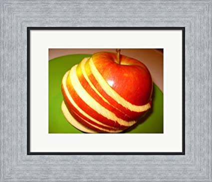 Amazon.com: Sliced Apple Framed Art Print Wall Picture, Flat Silver ...