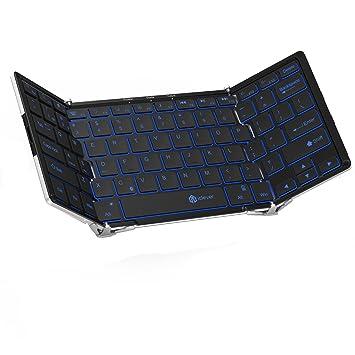 Teclado plegable, Teclado inalámbrico iClever con retroiluminación de 3 colores, Teclado Bluetooth triple plegable