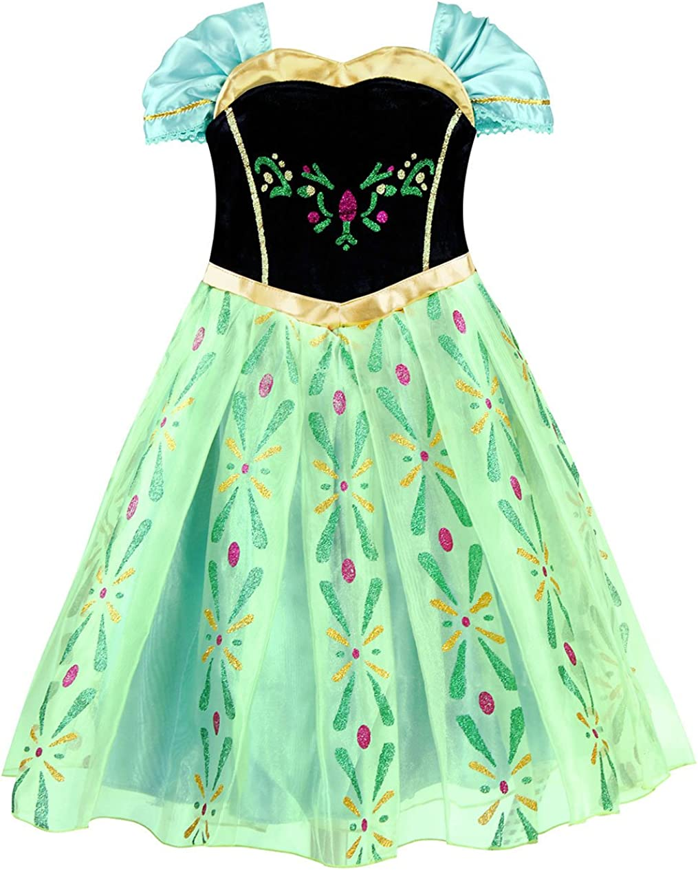 AmzBarley Robe de Princesse pour Fille Enfant Habiller Couronnement Costume D/éguisement Cosplay Anniversaire F/ête Halloween Carnaval No/ël avec Cap