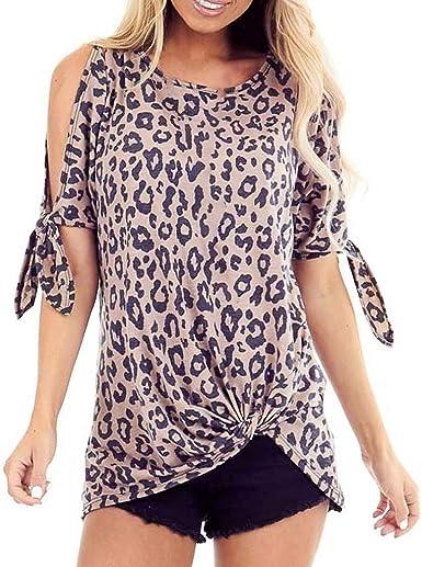 Warmword Verano Camisas De Hombro Frío Estampado de Leopardo Anudado Blusas Tops Camisetas sin Mangas Camiseta Casual Camiseta para Mujer: Amazon.es: Ropa y accesorios