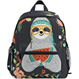 527b707a805 ZZKKO Tropical Funny Sloth Kids Backpack School Book Bag for Toddler Boys  Girls