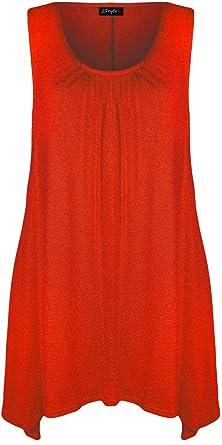 bfe655045ae5 Gugu Fashion Women Ladies Sleeveless Scoop Neck Hankey Hem Flared Swing Top  Dress (S M