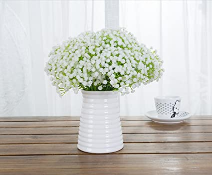 Amazon meiliy 10pcs plastic artificial baby breath gypsophila meiliy 10pcs plastic artificial baby breath gypsophila flower for home wedding office party decoration mightylinksfo