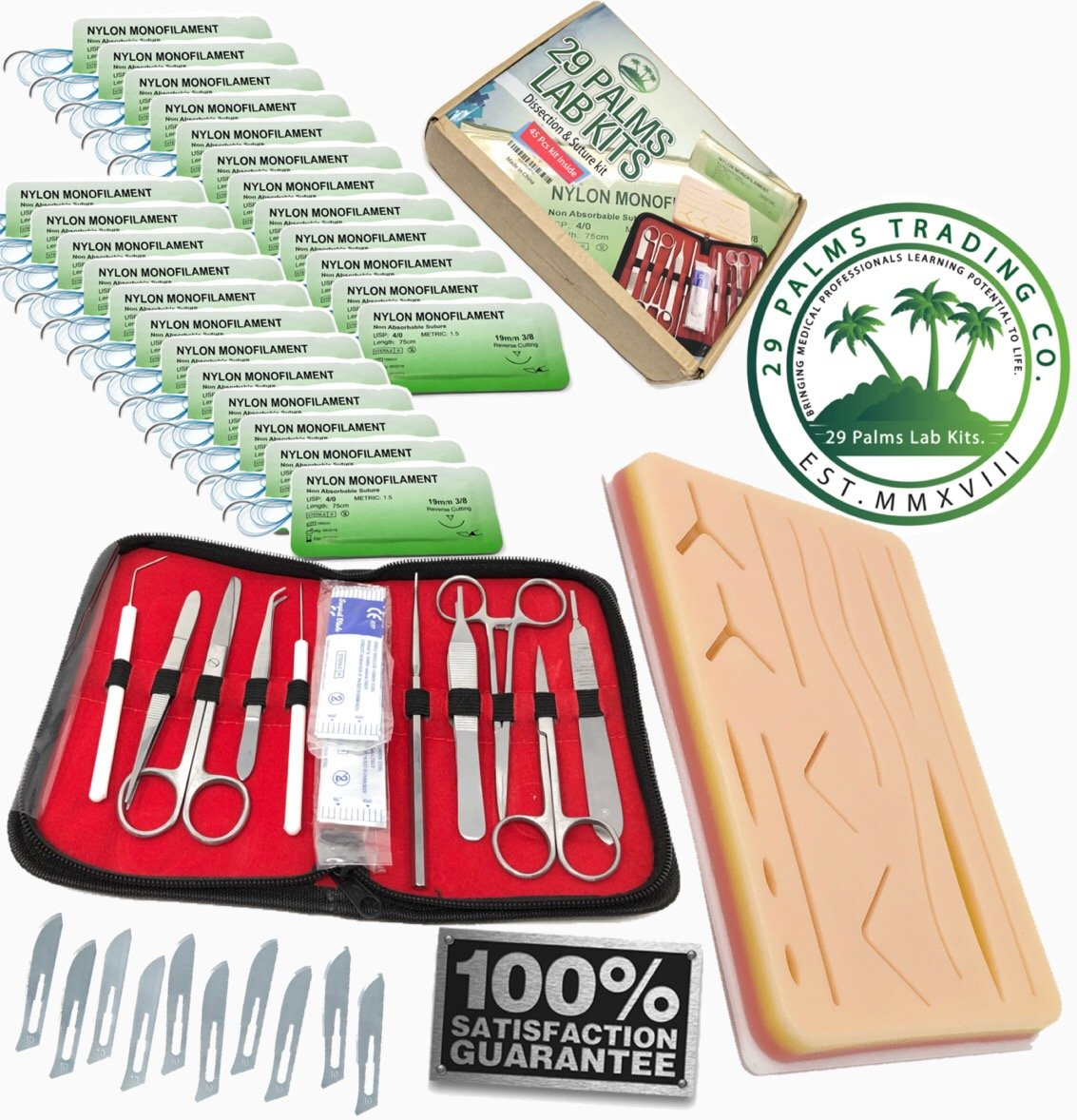 Complete Practice 45pcs Dissection Suture Kit For Med Students