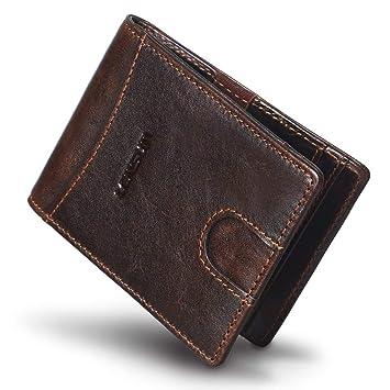 Cartera Hombre Pequeña Piel Tarjetero para Tarjetas de Credito RFID Marrón (10695-A): Amazon.es: Equipaje