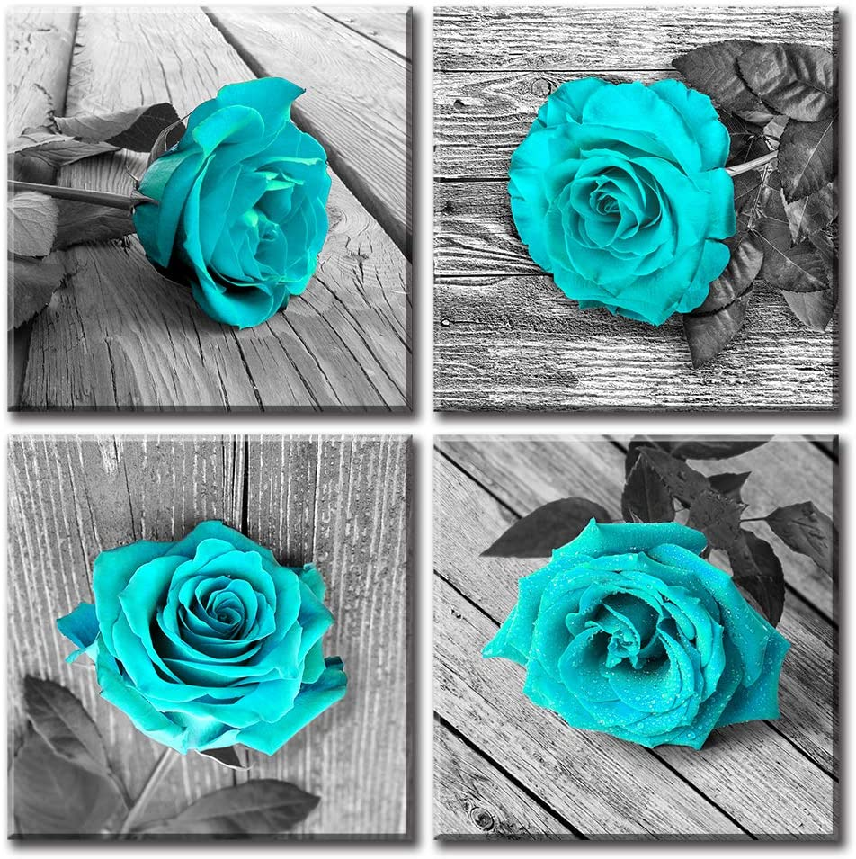 "JiazuGo - Turquoise Bathroom Pictures Wall Decor Black and White Floral Canvas Artwork Painting Teal Rose for Bedroom Living Room Decorations Valentine'S Day 20X20""X4 Stretched and Framed Ready to Hang"