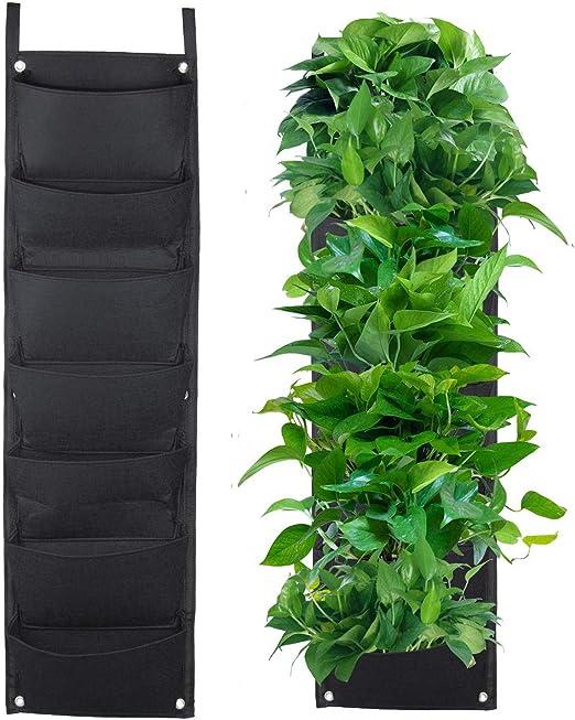 Richoose 7 de la Bolsa Vertical de Fieltro montado en la Pared el Cultivo de Plantas estéreo Bolsa de la Planta Crece contenedores Bolsas de Estar colgados de la Pared Plante, Negro:
