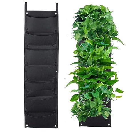 Richoose 7 de la Bolsa Vertical de Fieltro montado en la Pared el Cultivo de Plantas estéreo Bolsa de la Planta Crece contenedores Bolsas de Estar ...