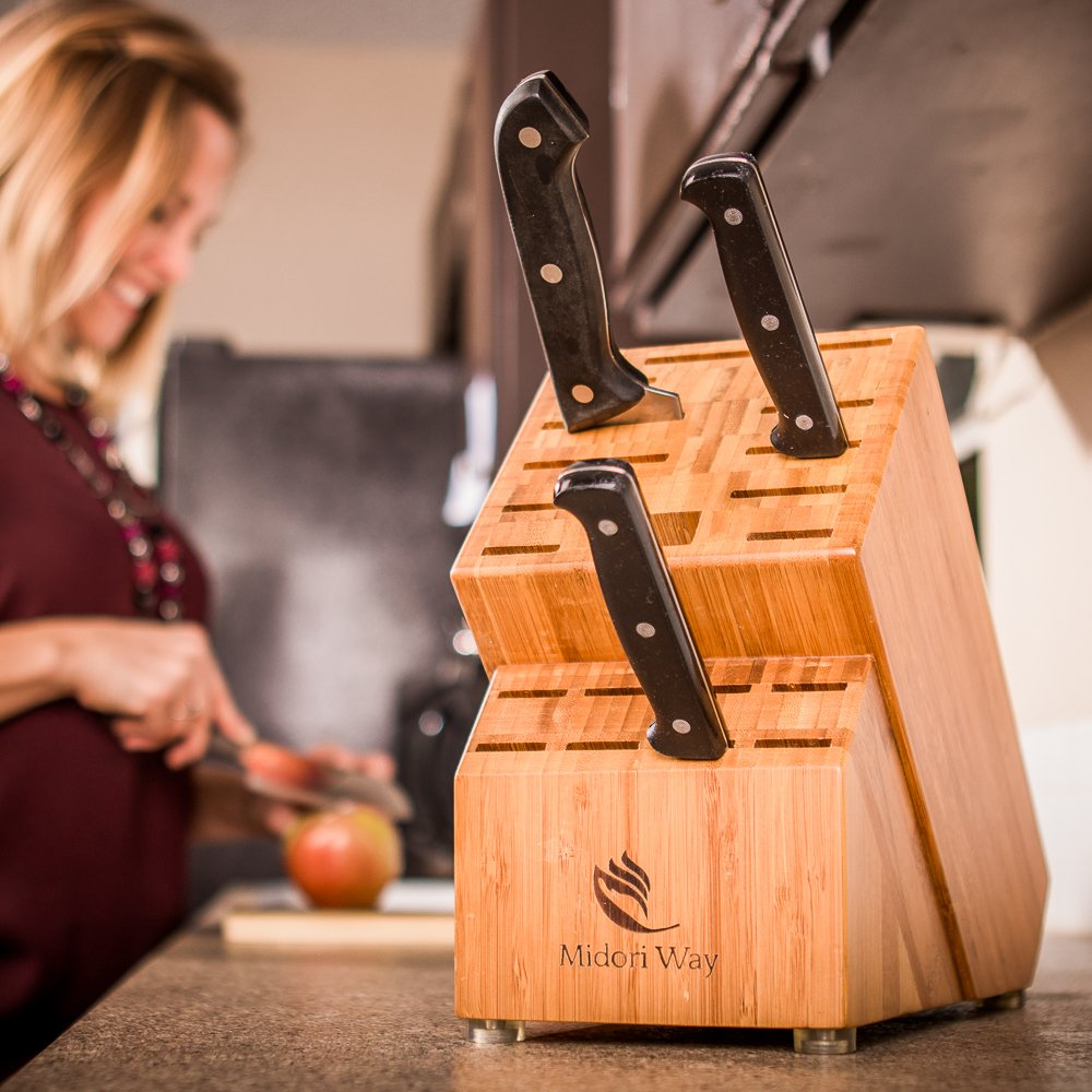 Bamboo Knife Block (Without Knives), Best For Storage Of Your Quality Cutlery. Stylish and Eco-Friendly, This Beautiful & Professional Wooden Block Will Be A Great Kitchen Addition. By Midori Way by Midori Way (Image #3)